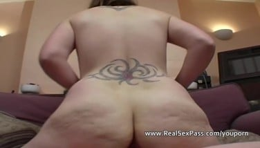 Chubby Tatted Teenager With Saggy Tits