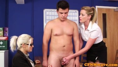 Dom Cfnm Stunners Deepthroating And Masturbating In Office