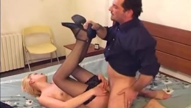 Blonde In Uniform Screwing In Ebony Stockings