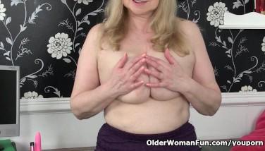 British Granny With Large Orbs Is A Compulsive Masturbator