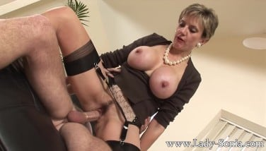 Lady Sonia Nails Two Mans Gets Facialed In Cum