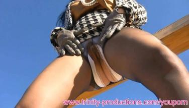 Elegant Mummy Clad Stockings Upskirt Pissing